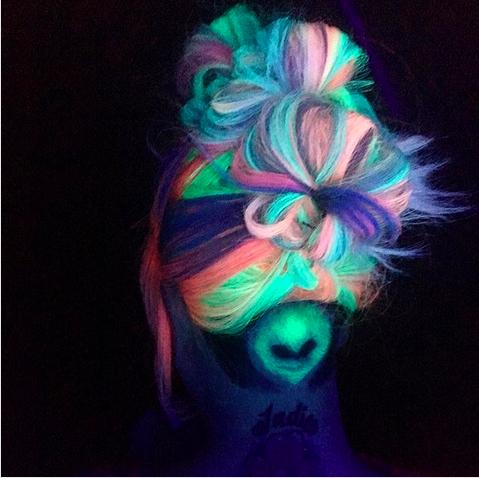 Serah Shirley, hairstylist, Pulp Riot, haircolor, unicorn hair, crazy haircolor, hair dye, interview, First Look Fridays, alien hair, black light, glow in the dark hair