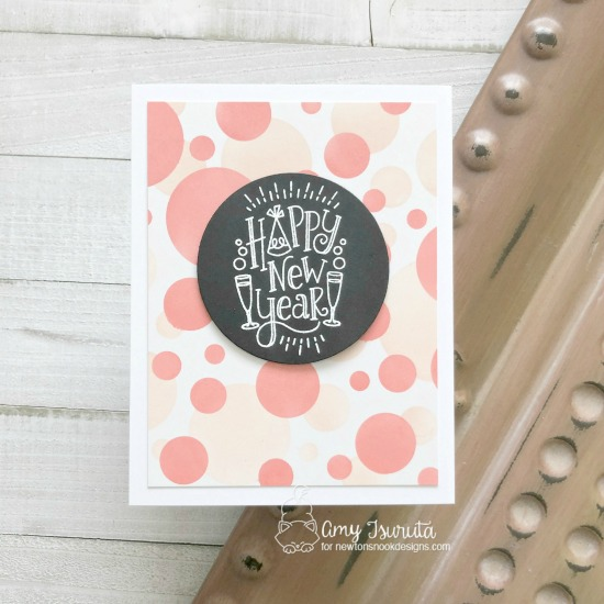 Happy New Year card by Amy Tsuruta | Happy New Year Stamp Set and Bokeh Stencil Set by Newton's Nook Designs