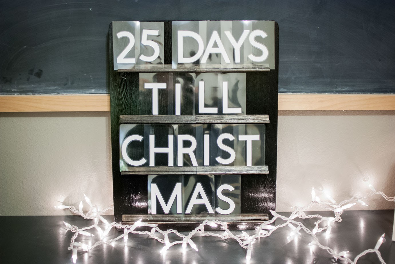 Christmas Letterboard Wood Sign with Twinkle Lights