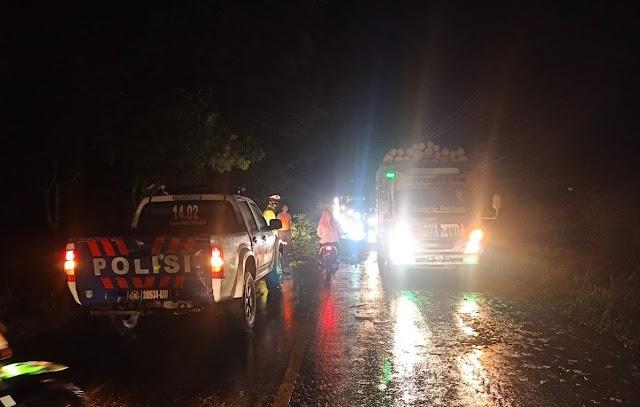 Satlantas Polres Tulang Bawang Evakuasi Pohon Tumbang di Jalintim