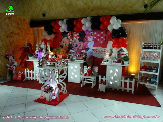 Decoração infantil provençal simples para festa de aniversário tema Minnie (vermelha)