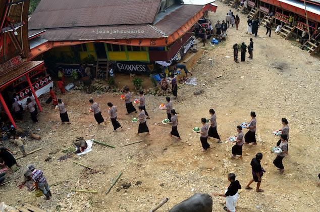 Para wanita Toraja mengantar hidangan untuk menjamu para tamu dalam rangkaian Upacara Rambu Solok Tana Toraja || jelajahsuwanto