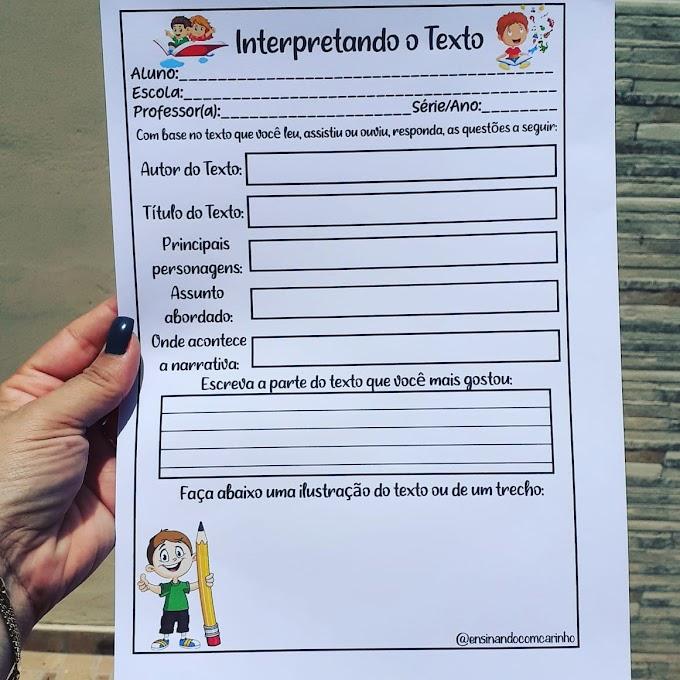 Ficha para interpretação de texto