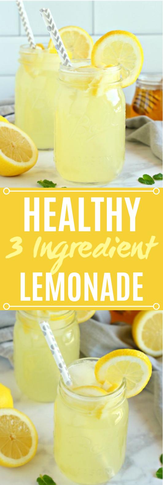 Healthy 3-Ingredient Lemonade #summer #drinks