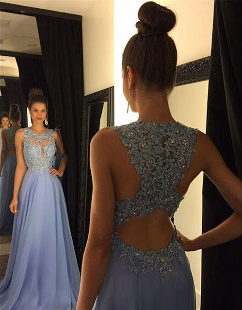 A-line Chiffon Sweep Train Appliques Lace Sexy Prom Dresses