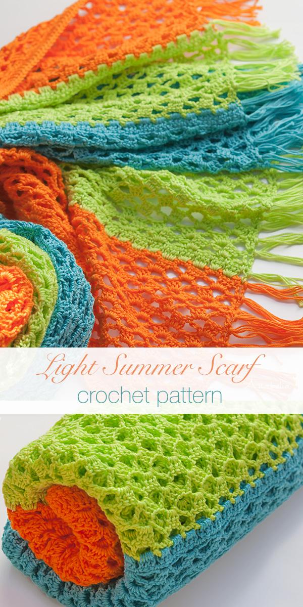 Light summer crochet scarf, Anabelia Craft Design