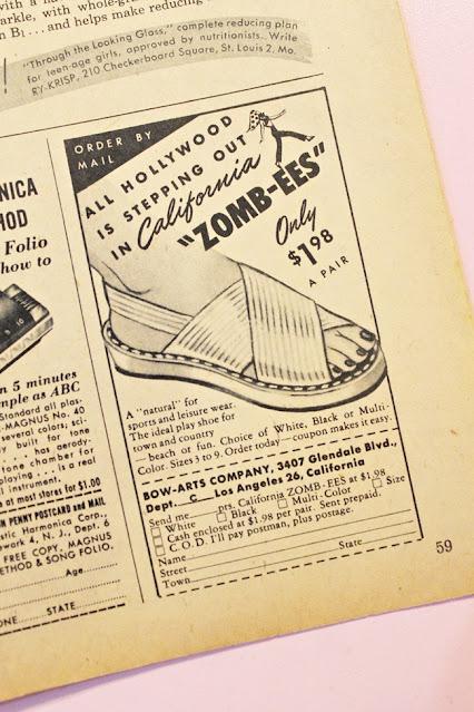 1940s vintage teen fashion magazine summer peep toe shoes