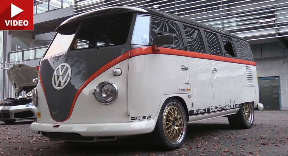 vw t1 bus terrorizes supercars thanks to 530hp porsche 911 turbo engine. Black Bedroom Furniture Sets. Home Design Ideas