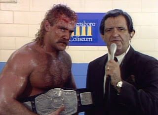NWA Starrcade 1985 - New US Champion Magnum TA gives an interview to Johnny Weaver