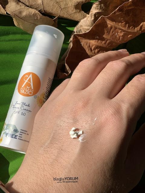 ayşenur yazıcı sun block face cream spf 50 güneş kremi incelemesi 1