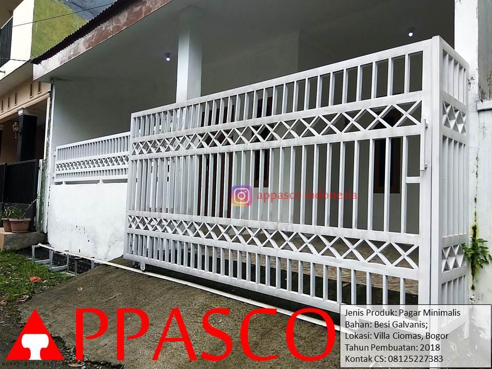 Pagar Putih Minimalis Besi Galvanis di Villa Ciomas Bogor