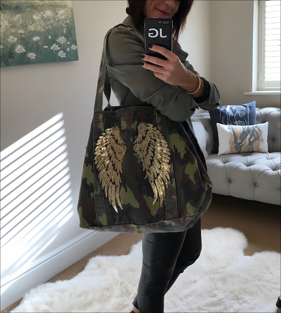 My Midlife Fashion, Zara Camouflage canvas bag, french connection faux leather trousers, Hush military jacket, primark polo neck jumper, office lucky charm boots