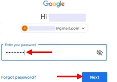Masukkan password atau kata sandi email gmail Anda