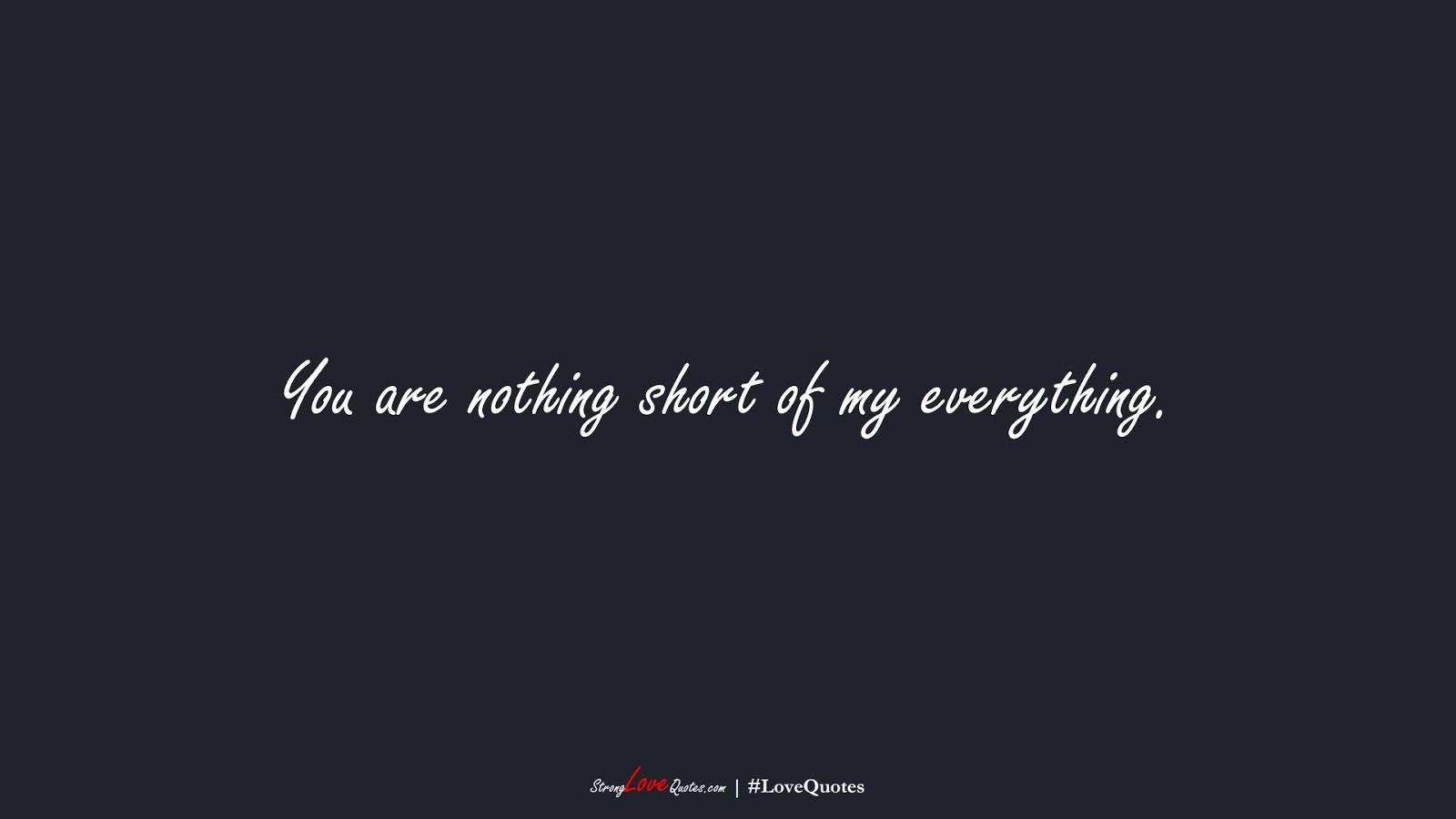 You are nothing short of my everything.FALSE