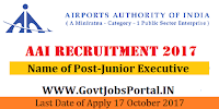 Airports Authority of India Recruitment 2017– 200 Junior Executive