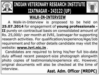 IVRI Walk in Interview for YP on 25th July 2014