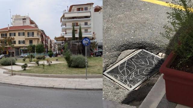 Με ένα αρτιστίκ πατάκι κάλυψε φρεάτιο του δρόμου κάτοικος της Τρίπολης