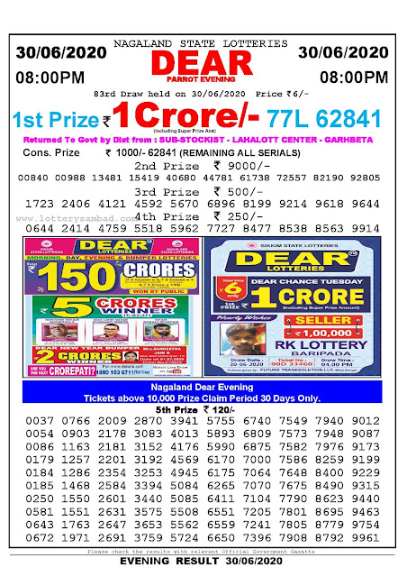 Nagaland State Lottery Sambad 30-06-2020 Today Result 8 PM