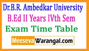 Dr.B.R. Ambedkar University B.Ed II Years IVth Sem Apr 2017 Exam Time Table