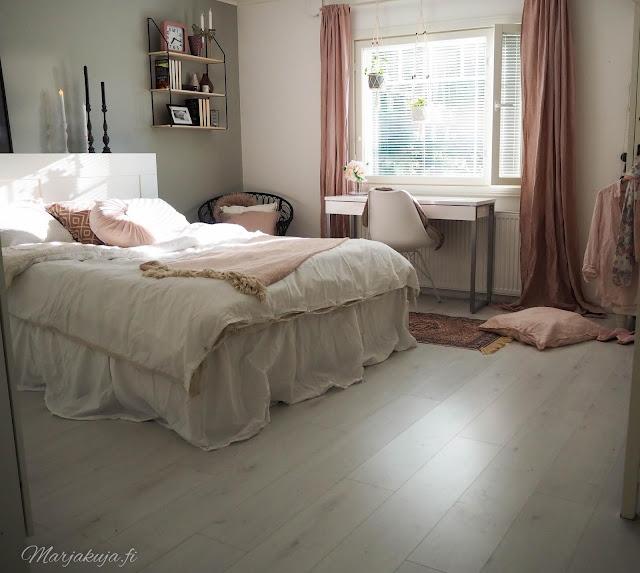 makuuhuone sisustus kierrätys kirppislöytö boheemi bohostyle ikea koti