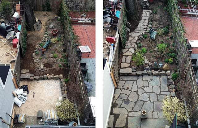 Reclaimed slate backyard patio Artist and Builder before and after