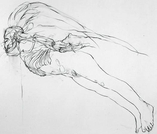 Chloe Piene Flyer (Bald), 2001 Charcoal on vellum 76.2 x 91.4 cm