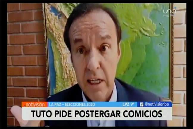 Tuto Quiroga-ahora pide postergación de elecciones del 6 de septiembre