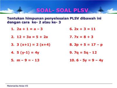 Persamaan dan Pertidaksamaan Linear Satu Variabel Matematika SMP/MTS Kelas 7 dan Pembahasannya