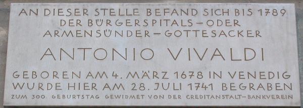 Gedenktafel für Antonio Vivaldi am Karlsplatz