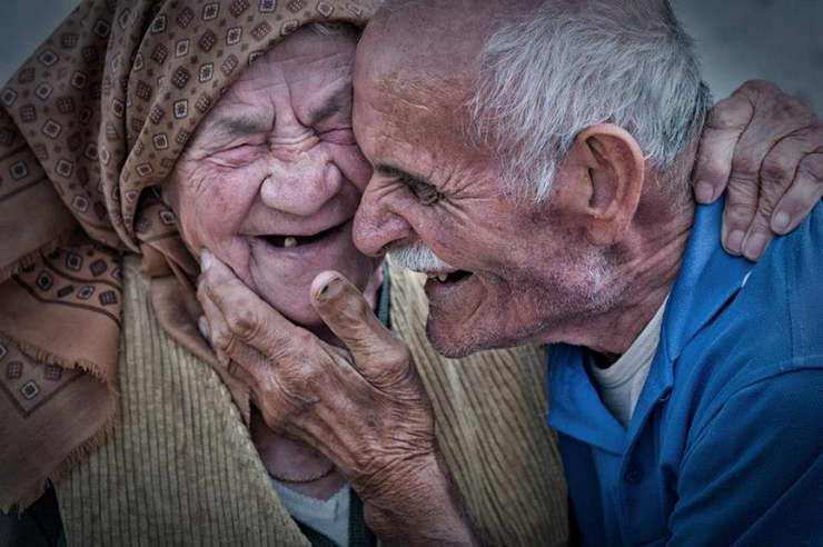 old couple in romantic mood on National senior Citizen's Day