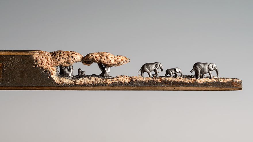 I Carved A Family Of Elephants Into A Pencil - Using the wood of a pencil I carved the tree tops, and the trunks are made from the graphite lead