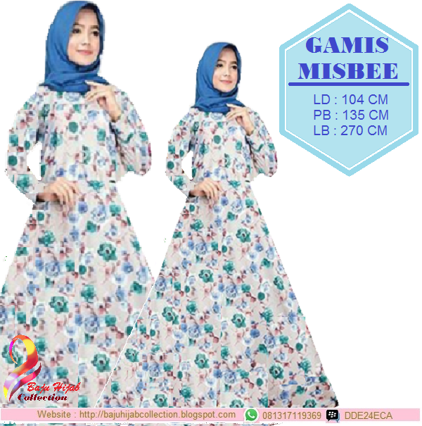 Gamis Misbee Blue Motif Bunga