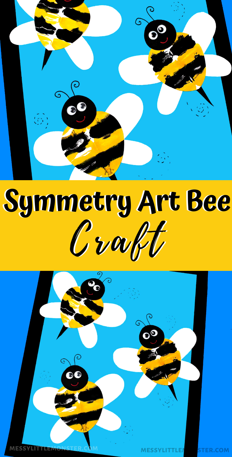 Symmetry art for kids. Squish art bee craft.
