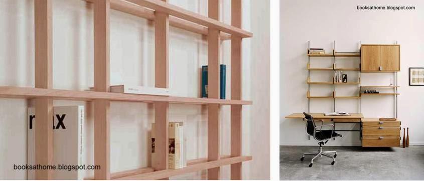 Estanterías de madera y con soportes de metal a la pared