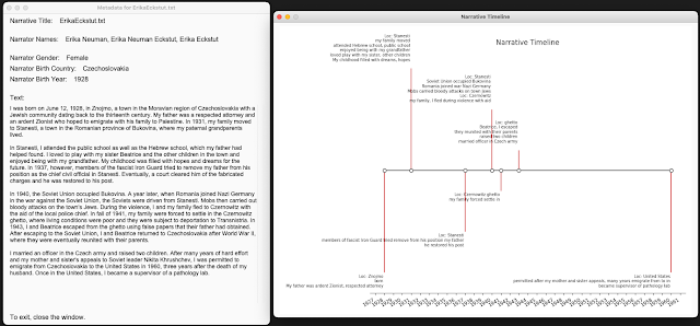 Example narrative data and timeline