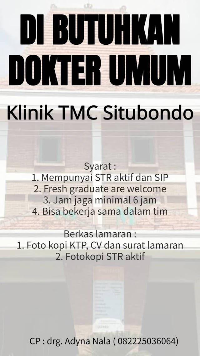 Loker Dokter Umum Klinik TMC Situbondo Jawa Timur