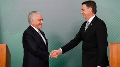 Bolsonaro e Temer, aliados na reforma da previdência