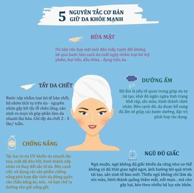 5 nguyên tắc cơ bản giữ da khỏe mạnh