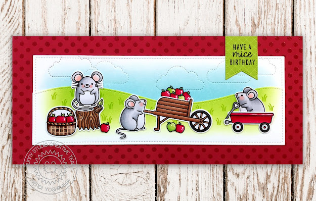 Sunny Studio Stamps Red Polka-dot Punny Mouse Handmade Fall Card (using Harvest Mice, Happy Harvest, Background Basics Stamps, Fluffy Cloud Dies, Slimline Nature Borders & Slimline Scalloped Frame Dies)
