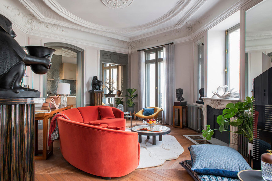 Classic Parisian apartment with vibrant modern accents