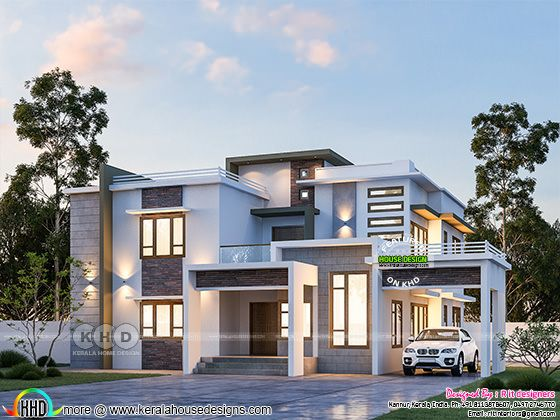 Day light view of contemporary modern residence rendering