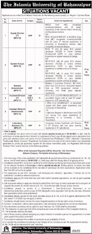 Islamia University Bahawalpur Jobs 2020