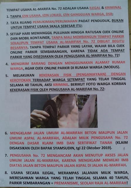 Korban aniaya kegiatan usaha ilegal serakah sang pelaku usaha Jalan Al-Marifah Nomor 72 Cengkareng, Kelurahan Rawa Buaya, Jakarta Barat
