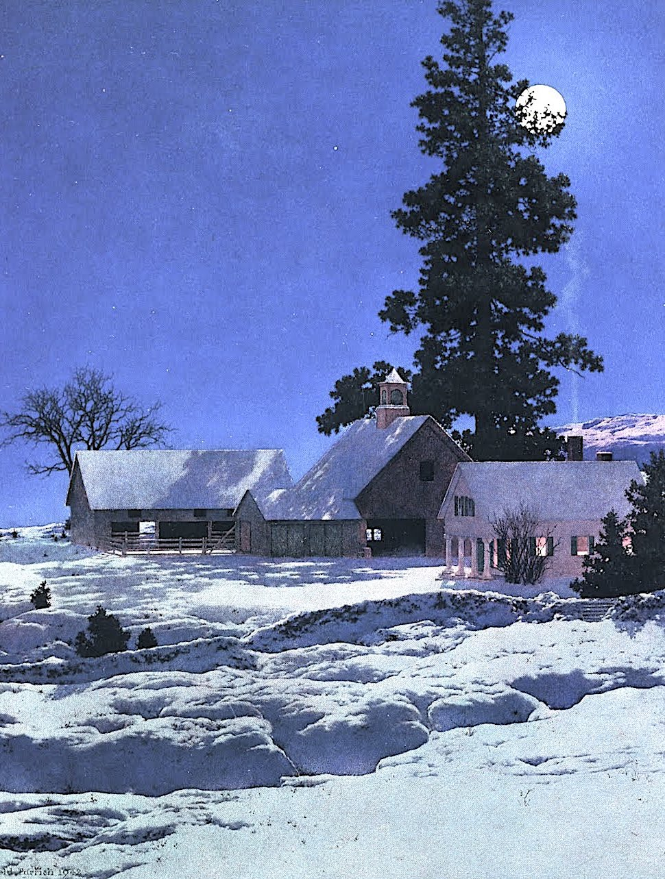 Maxfield Parrish, a farm in winter night with moonlight