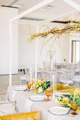 yellow wedding reception table decor