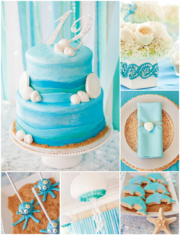 An Elegant Blue Under The Sea Party - via BirdsParty.com