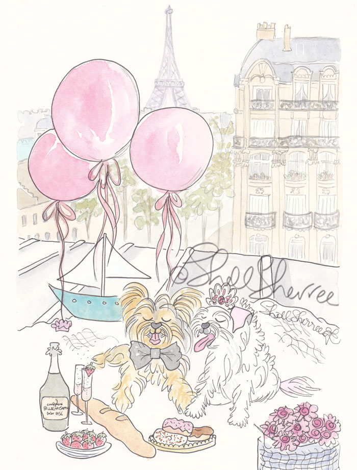 Yorkies in Paris Love pet illustration  © Shell Sherree
