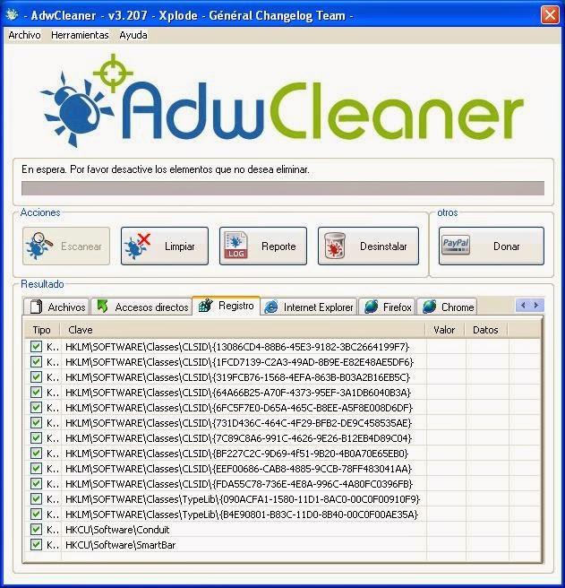 Resultados de análisis AdwCleaner
