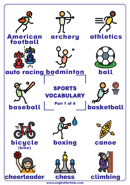 Sports vocabulary - printable poster for English learners