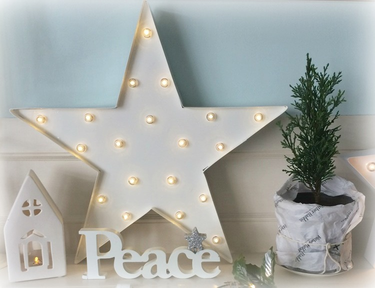 Christmas Mantel - white with greenery, lights and stars